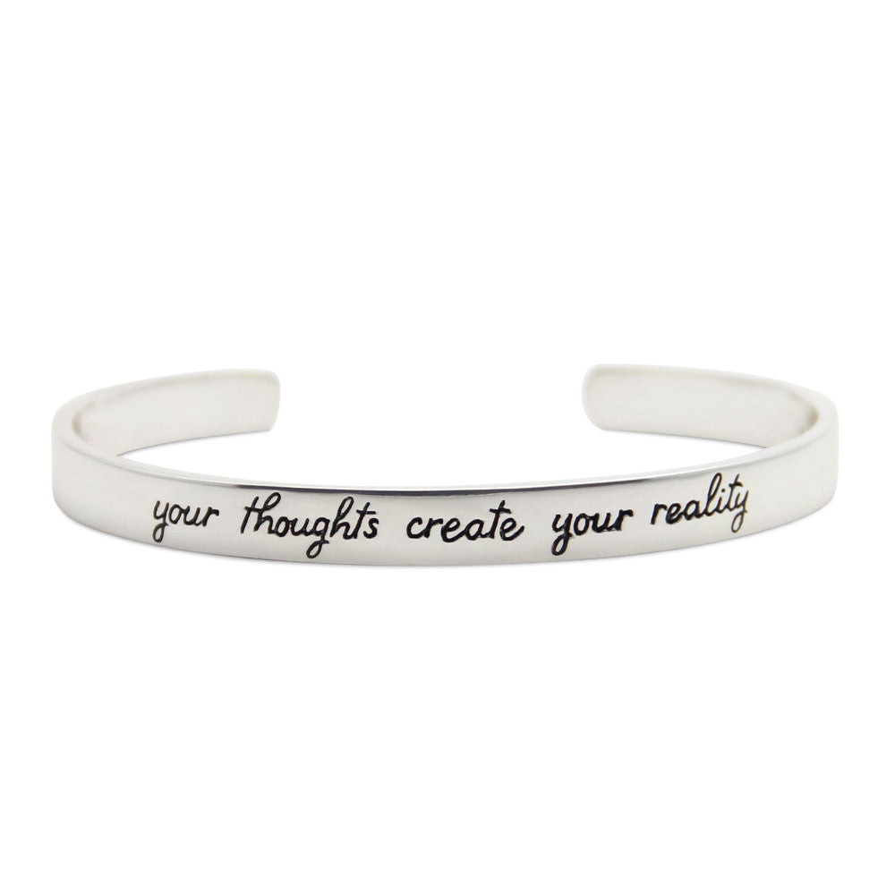 silver motivational cuff bracelet, your thoughts create your reality, LifeNotes® message jewelry by jenny present®