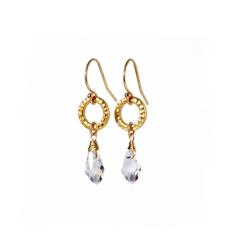 Delicate Gold Earrings With Swarovski Crystal