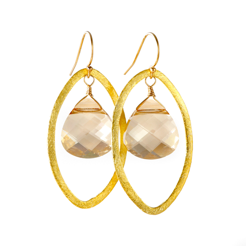 Gold Casey Earrings with Swarovski Crystals, jenny present®