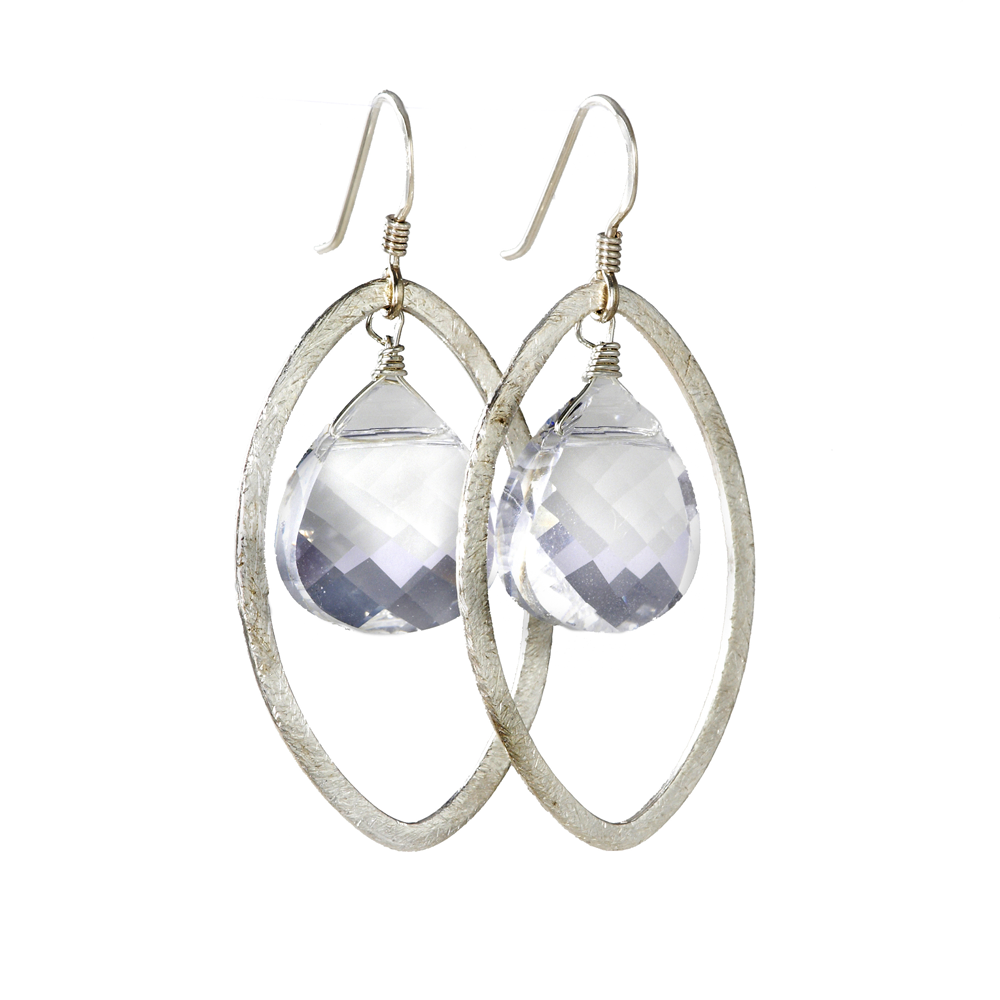 sterling silver earrings with Swarovski crystal, jenny present® designer jewelry