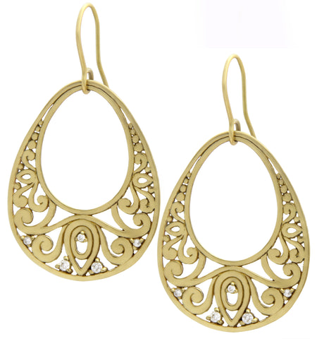 Gold Lace Tear Drop Earrings, Megan, designer jewelry, jenny present®, rated #1 jewelry