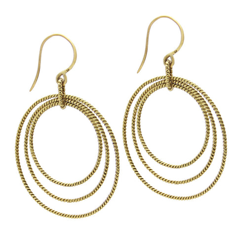gold rope earrings, gold hoop earrings, twisted rope earring, top rated designer jewelry