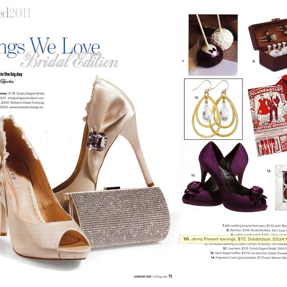 Gold Callie Earrings with Swarovski Crystals as seen in St. Louis Magazine, jenny present®