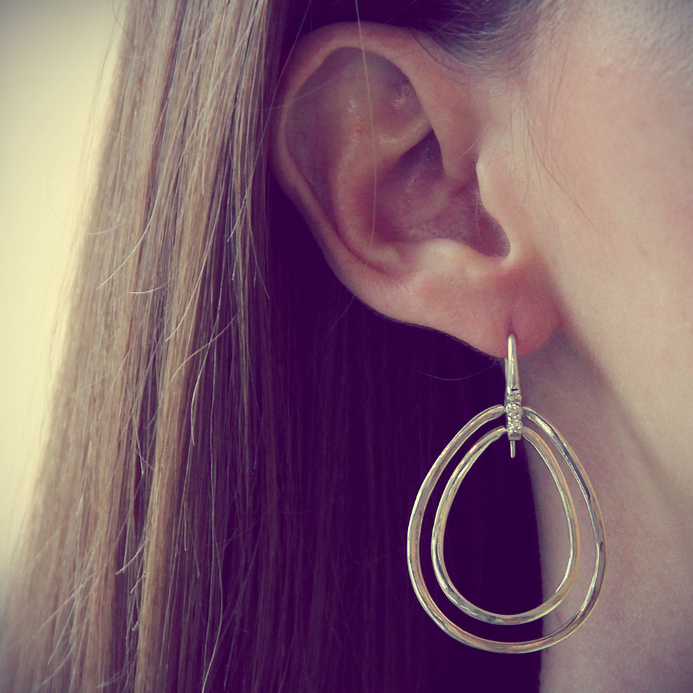 Silver Tear Drop Earrings, Designer Jewelry, Handmade, jenny present®