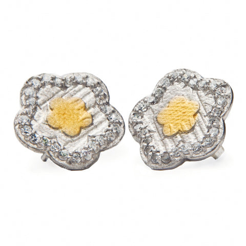 Flower Stud Earrings, Rated top jewelry designer, gold and silver earrings