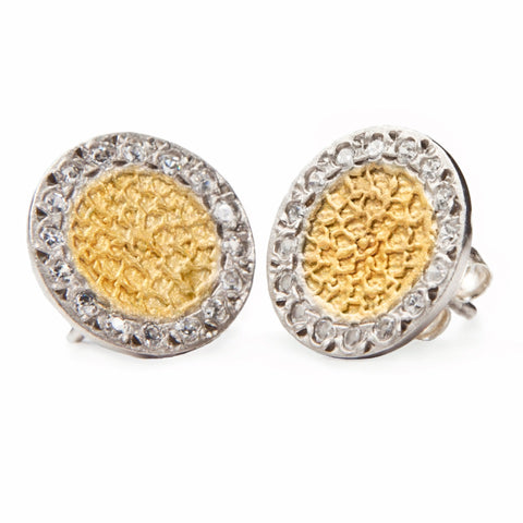 Gold and Zircon Round Stud Earrings, Erica, jenny present®