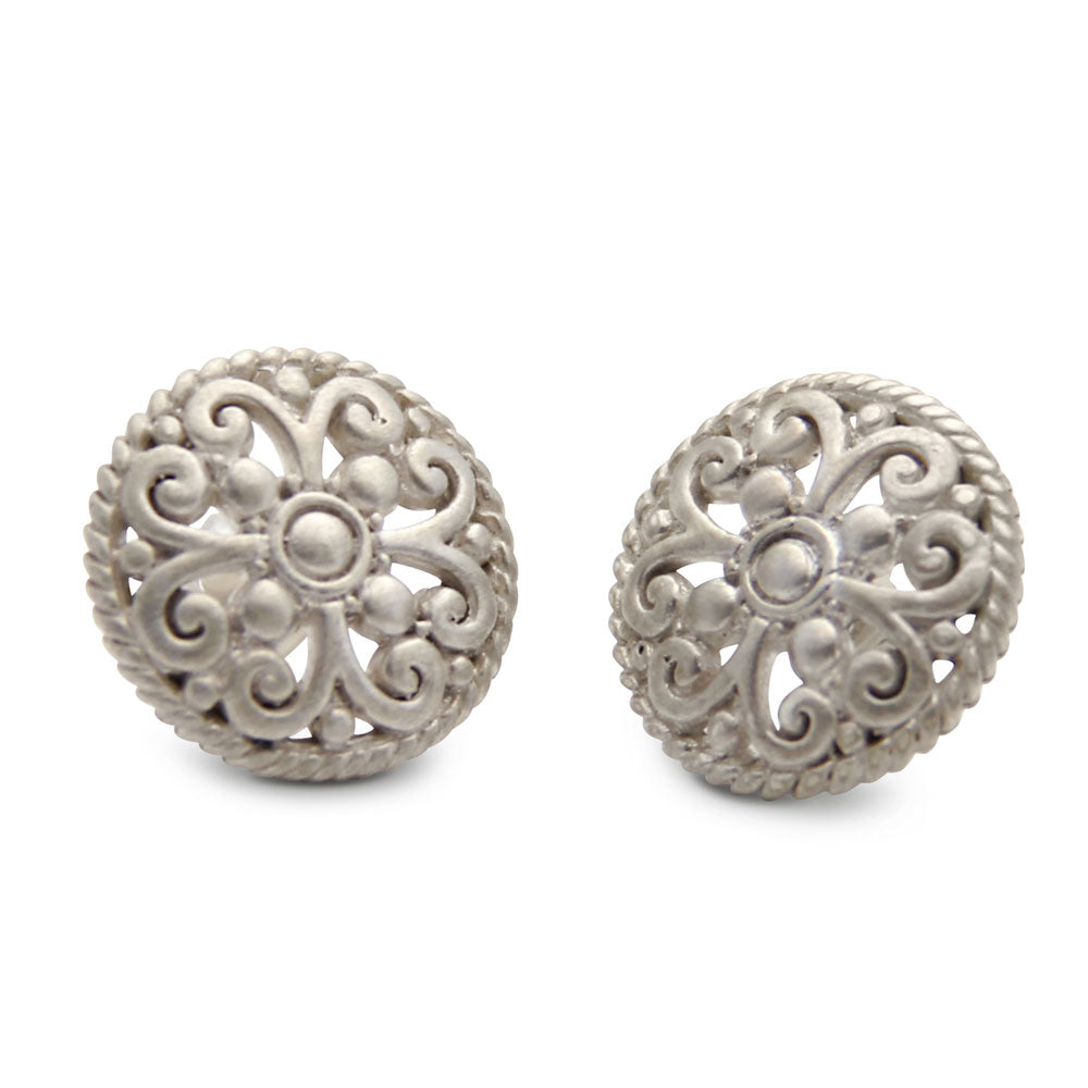 Sterling Silver Stud Earrings, Lace Detail, Oversized Studs, Designer Jewelry, jenny present®