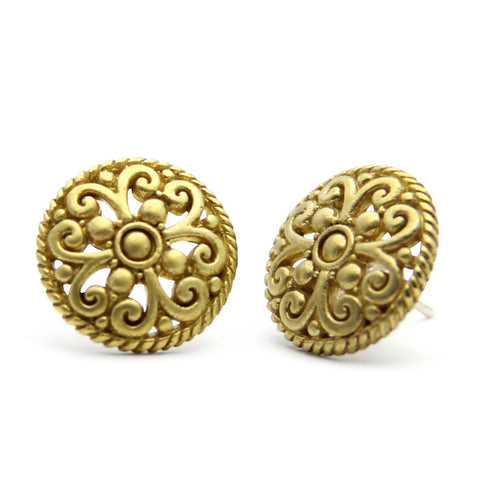 gold stud earrings, oversized earrings, button earrings, handmade designer jewelry, jenny present®