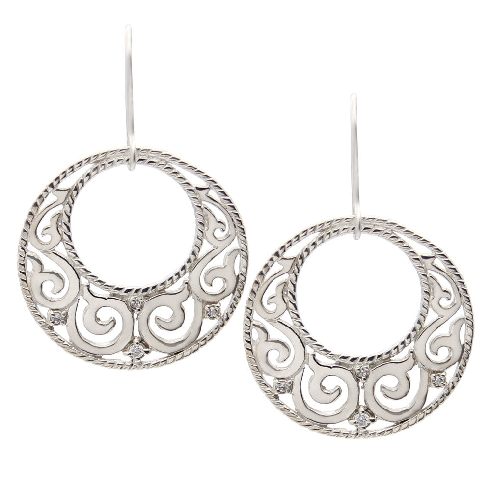 Sashi Silver Round Earrings, Bohemian Style Earrings, Designer Jewelry, jenny present®