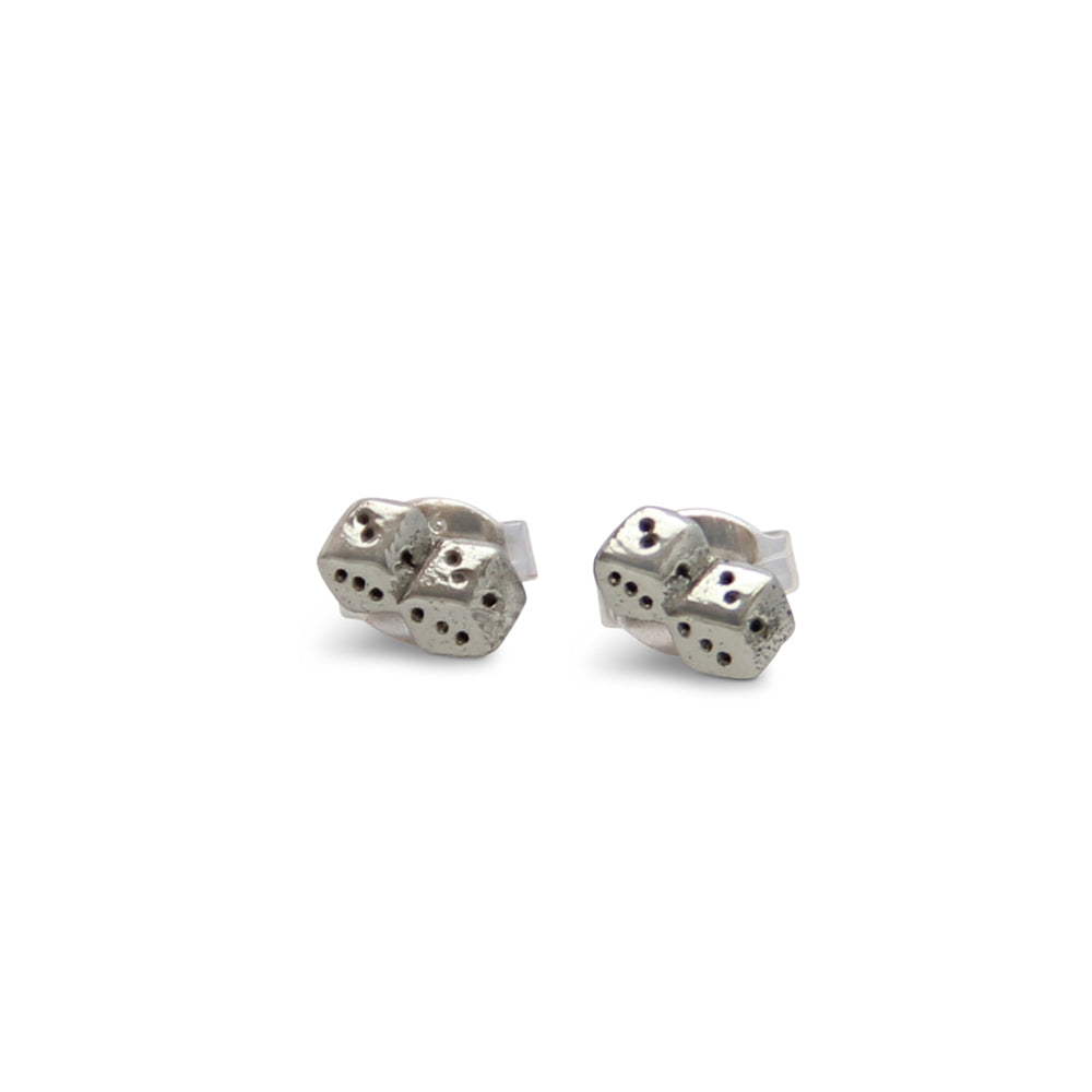 Silver Tiny Dice Stud Earrings, Lucky Dice Earrings, Designer Jewelry, post earrings, jenny present®