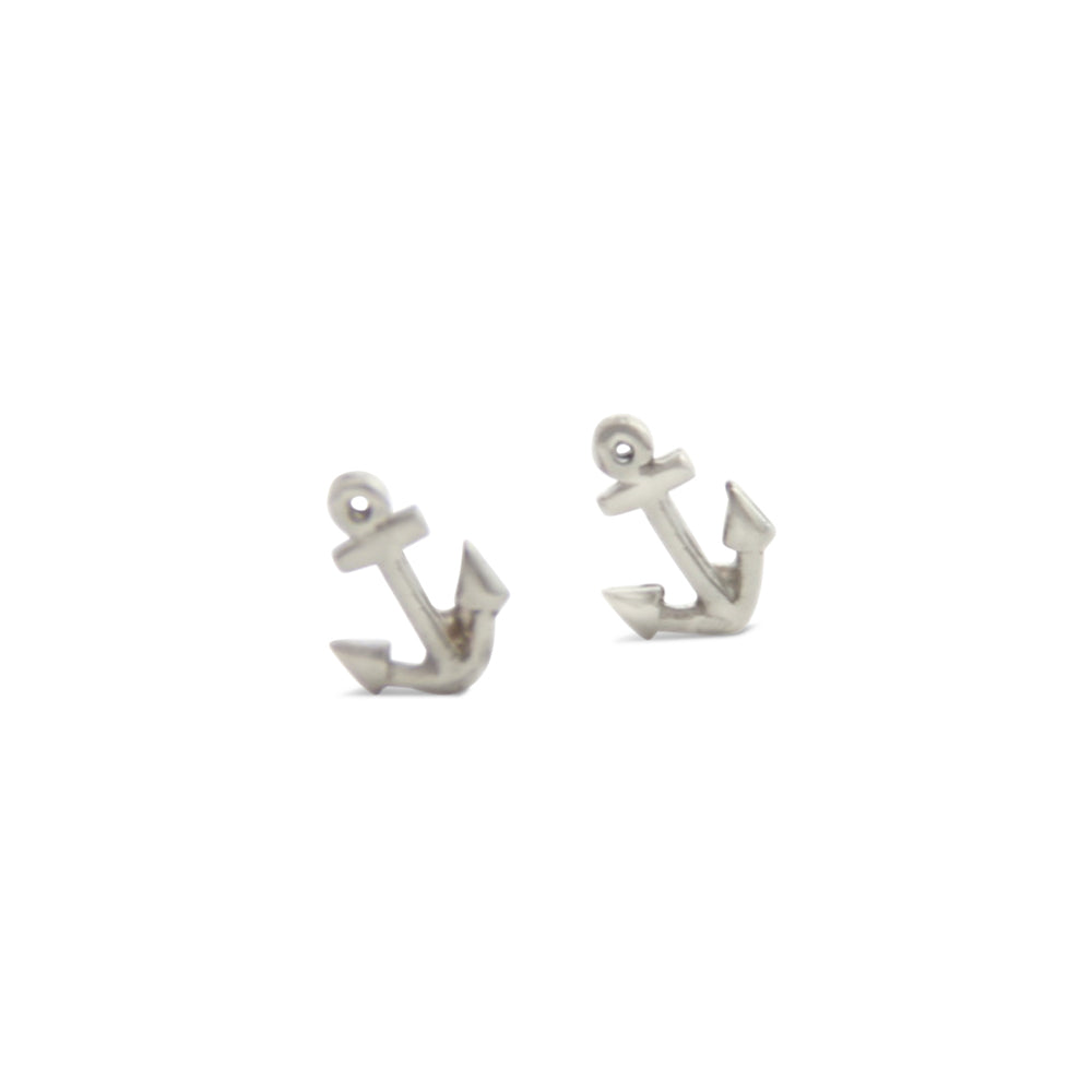 Tiny Silver Anchor Stud Earrings, Caroline
