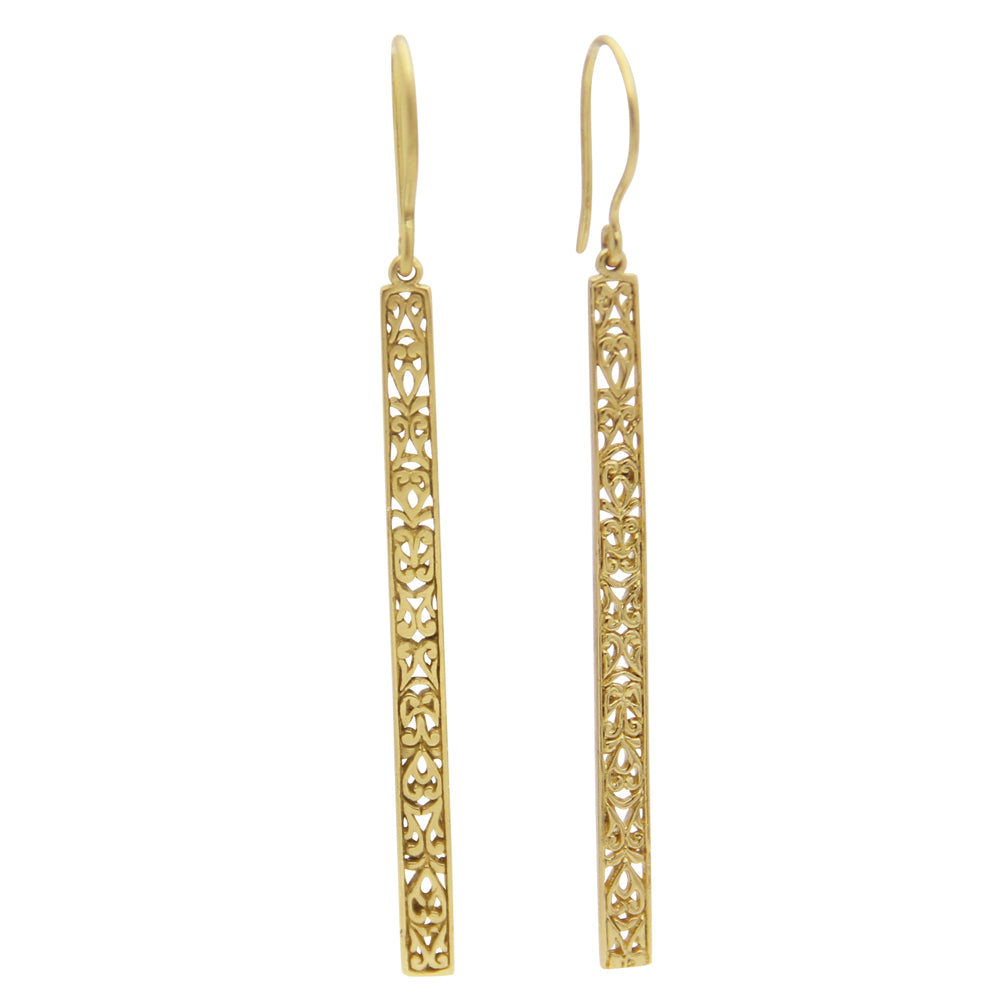 Gold Bar Earrings, Lace Cutout 'Amy' Drop Earrings, jenny present®