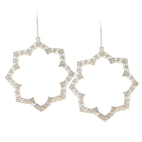 Sterling Silver Octagon Lace Cutout Earrings, Bohemian Style, Designer Jewelry, jenny present®