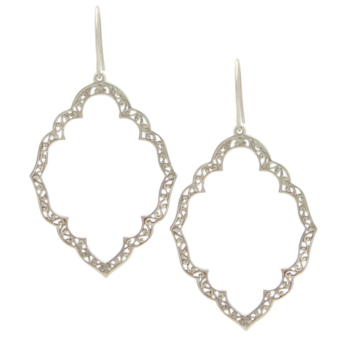 Sterling Silver Marquise Lace Cutout Earrings, silver drop earrings, designer jewelry, jenny present®