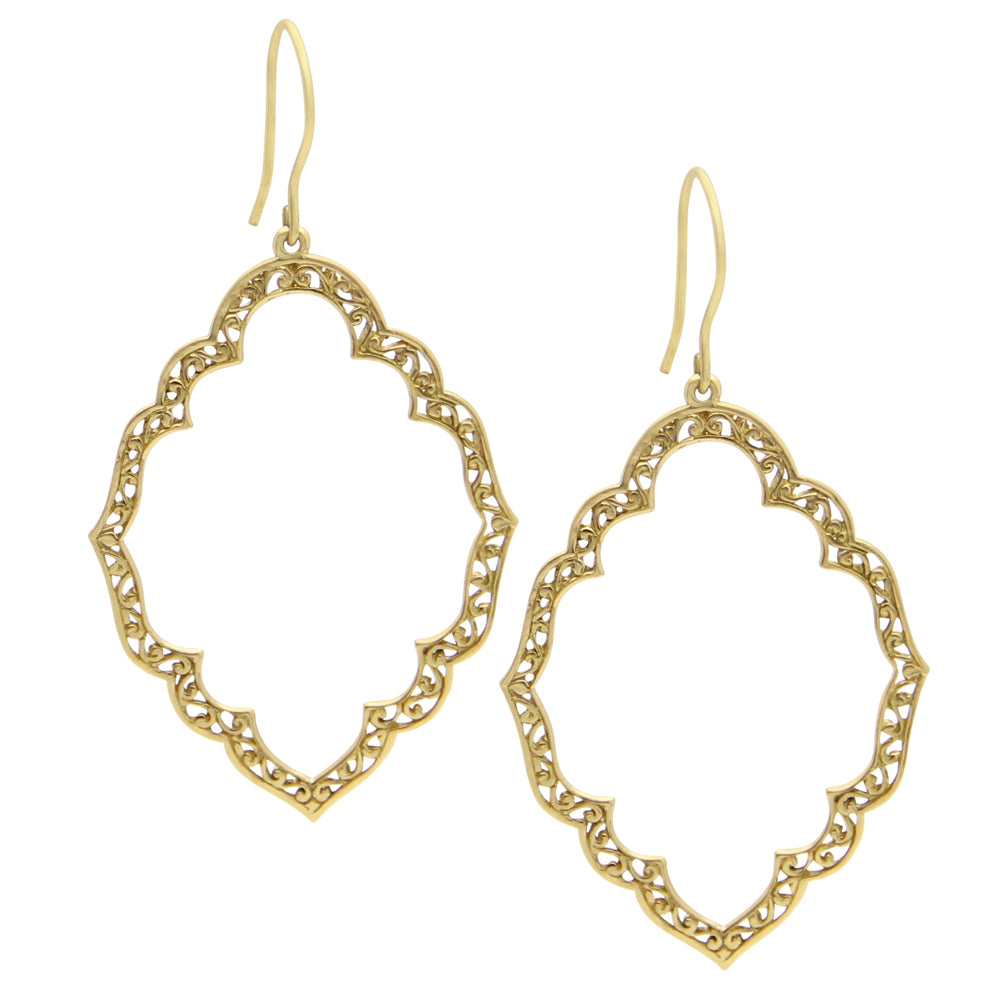 Gold Marquise Lace Cutout Earrings Geometric Earrings Designer Jewelry
