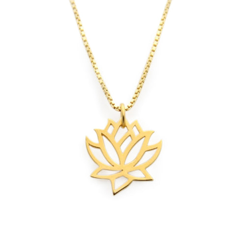 lotus necklace gold, rated #1 jewelry designer, jenny present®, lotus flower charm necklace gold