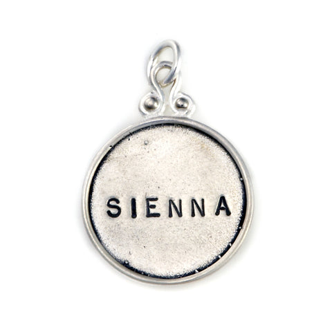 Hand Stamped Sterling Silver Pendant, Round with Rim, Decorative Bail, jenny present®