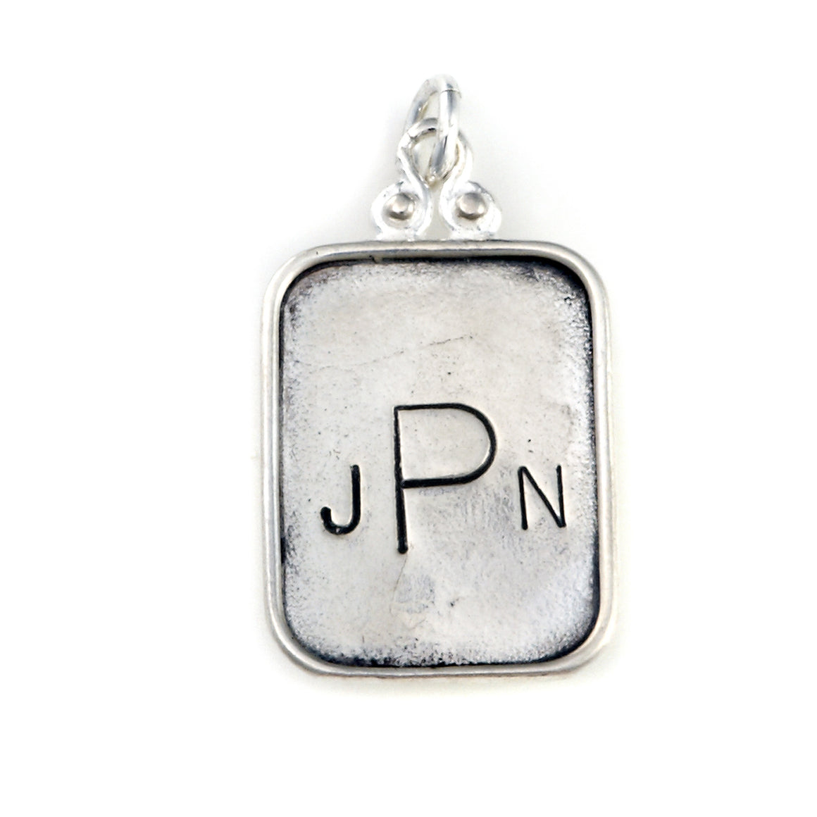 hand stamped sterling silver personalized monogram pendant, name tag jewelry