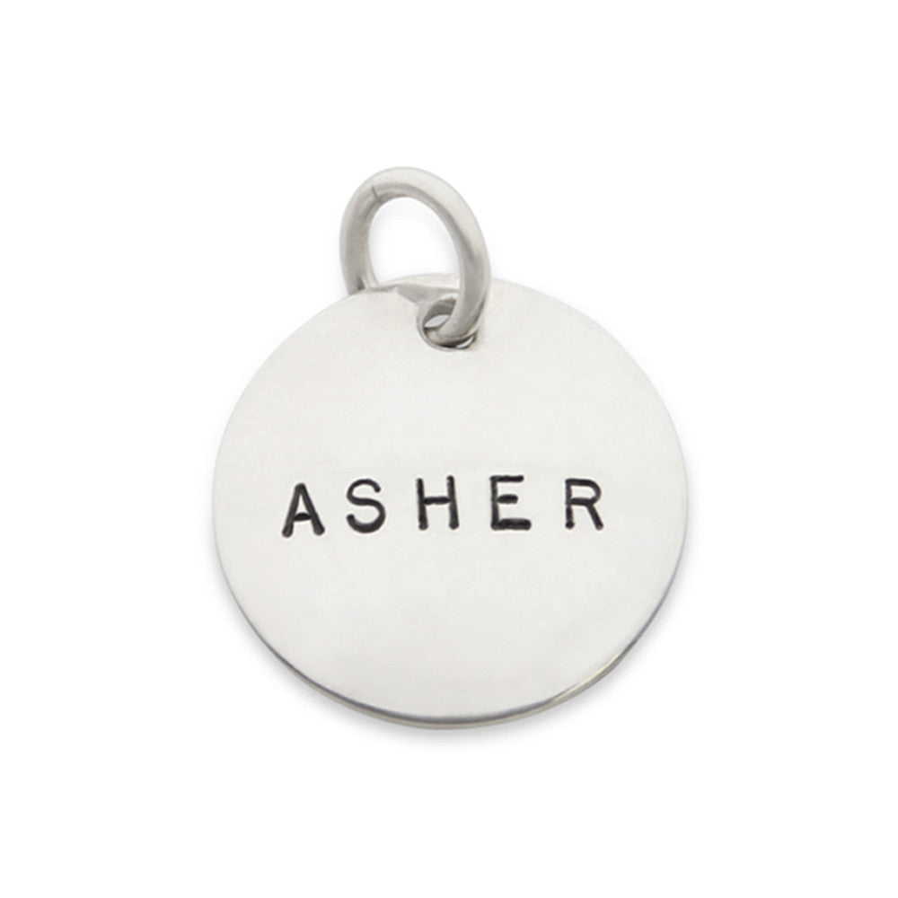 hand stamped personalized charm, name jewelry