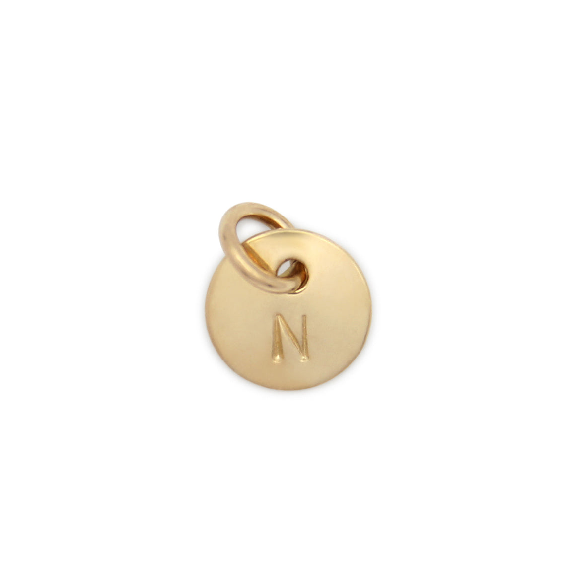 Small Hand Stamped Gold Initial Pendant