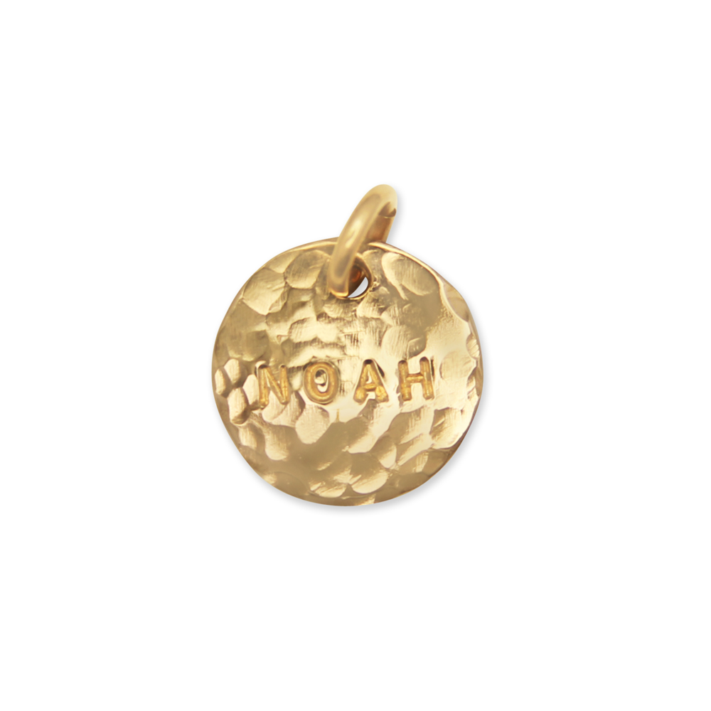 personalized gold hand stamped name charm, initial pendant