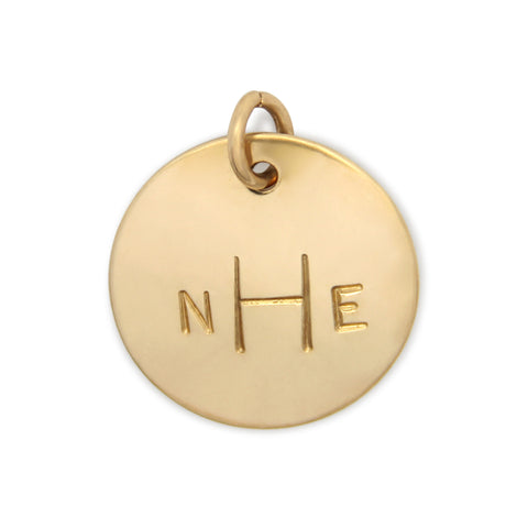 gold hand stamped pendant, monogram charm, personalized jewelry