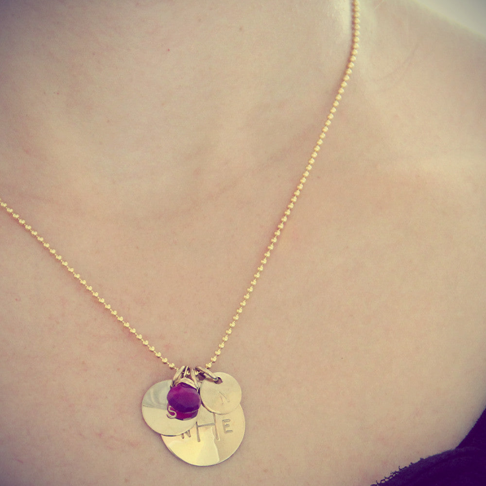 Model Wearing Gold Monogram Three Charm Necklace, Hand Stamped, Personalized, Proud Mama®