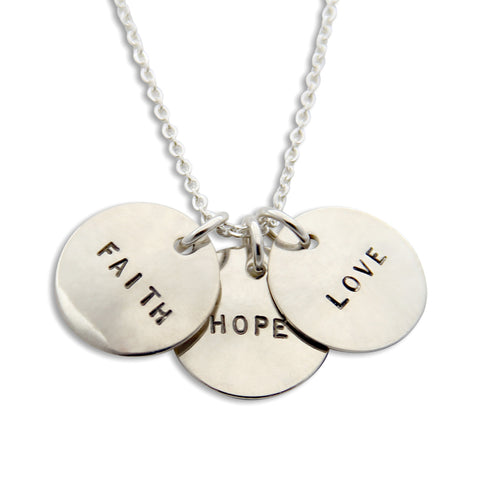 Sterling Silver Faith Love Hope Hand Stamped Necklace, Proud Mama®