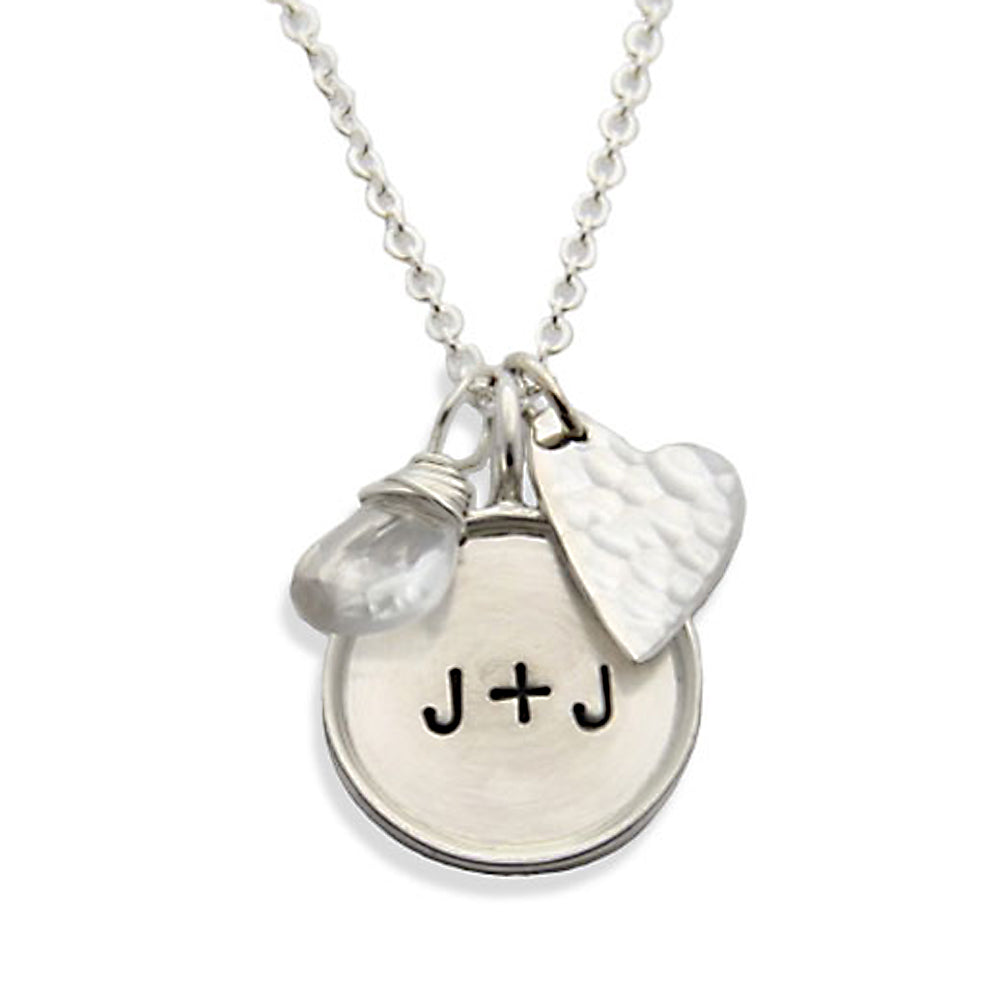 sterling silver initial necklace with heart charm, hand stamped necklace, proud mama®, jenny present® designer jewelry