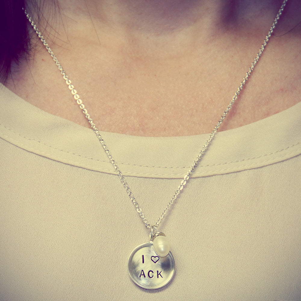 Silver Hand Stamped I Love You Necklace, Personalized Mothers Jewelry, Proud Mama®, designer jenny present®