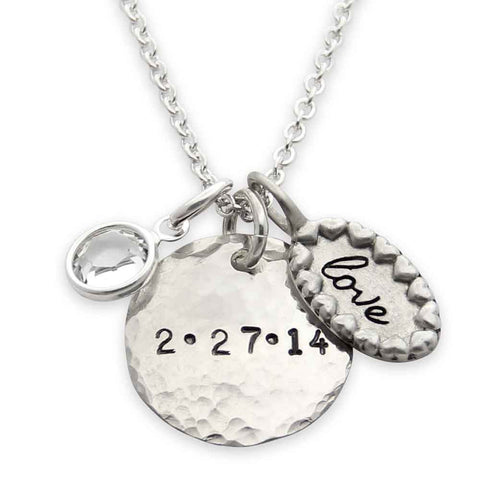 sterling silver hand stamped anniversary date necklace, love charm necklace, proud mama®, jenny present®