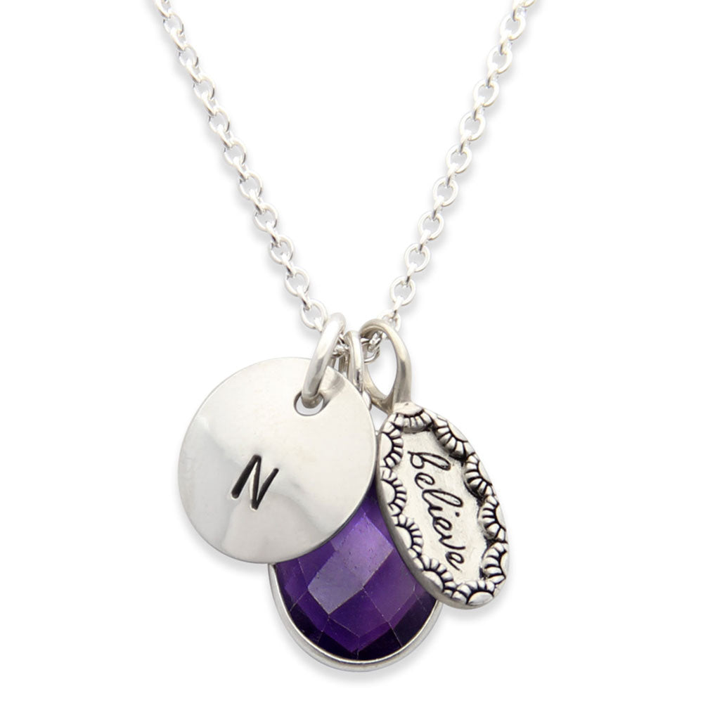 Silver Personalized Inspirational Believe Charm Necklace with Amethyst Gemstone, Proud Mama®, Personalized Initial Jewelry