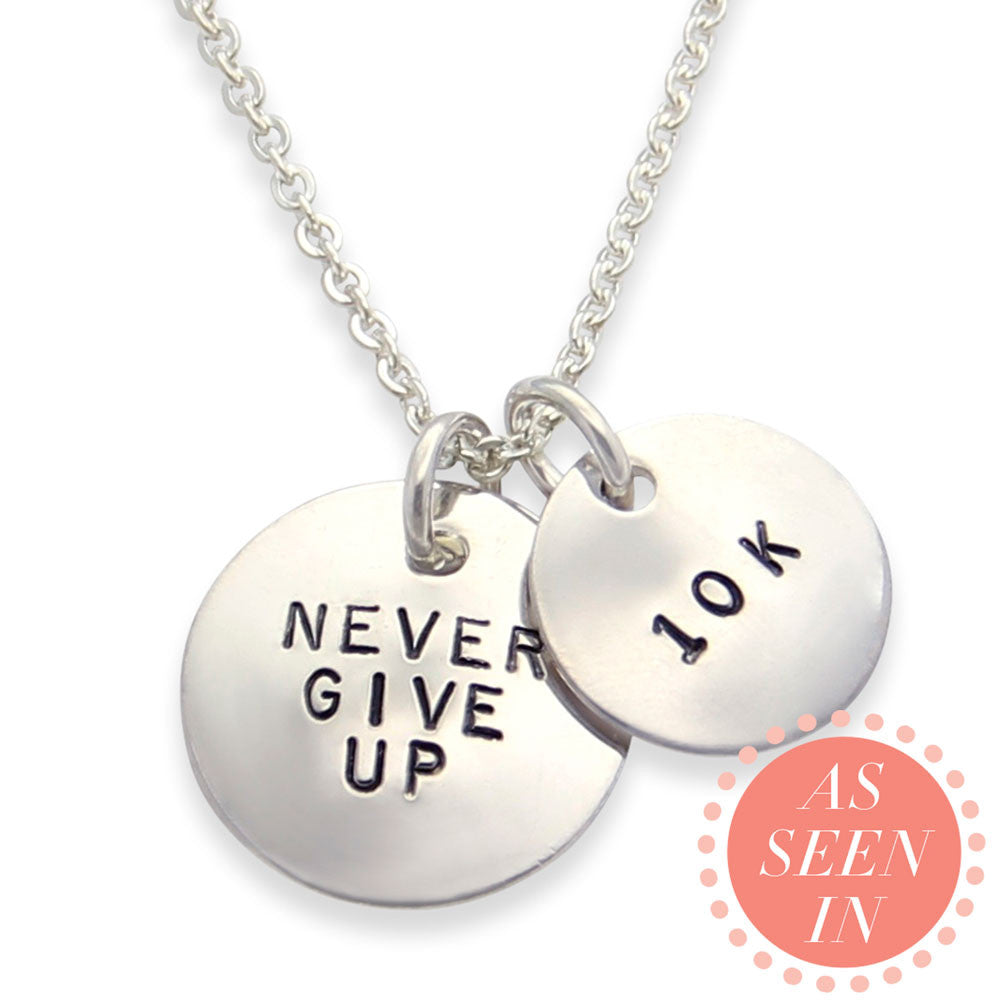 running jewelry, silver never give up necklace, personalized hand stamped, jenny present®