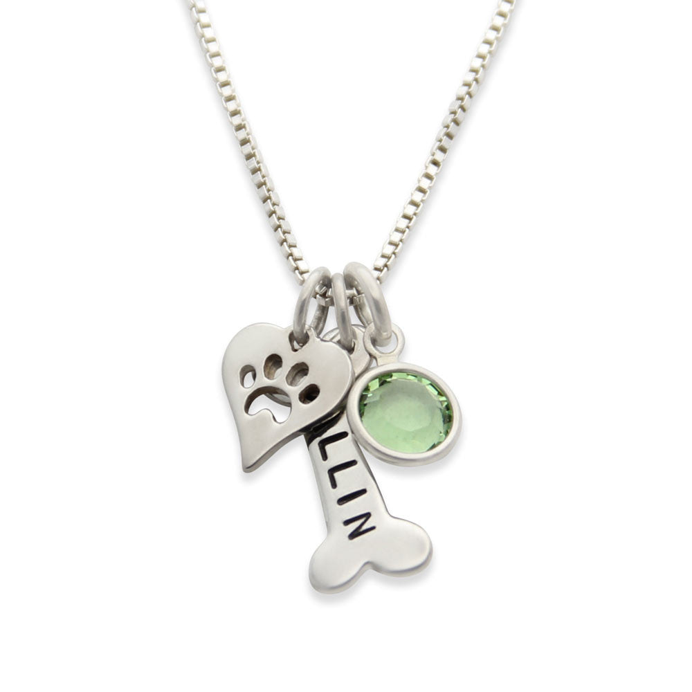 sterling silver dog lovers necklace, dog bone paw print charm necklace, hand stamped, Proud Mama®