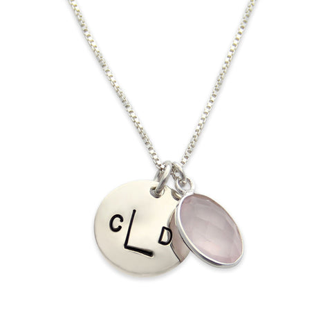 Silver Monogram Necklace with Pink Rose Quartz, Monogram Jewelry with Birthstone, Proud Mama®