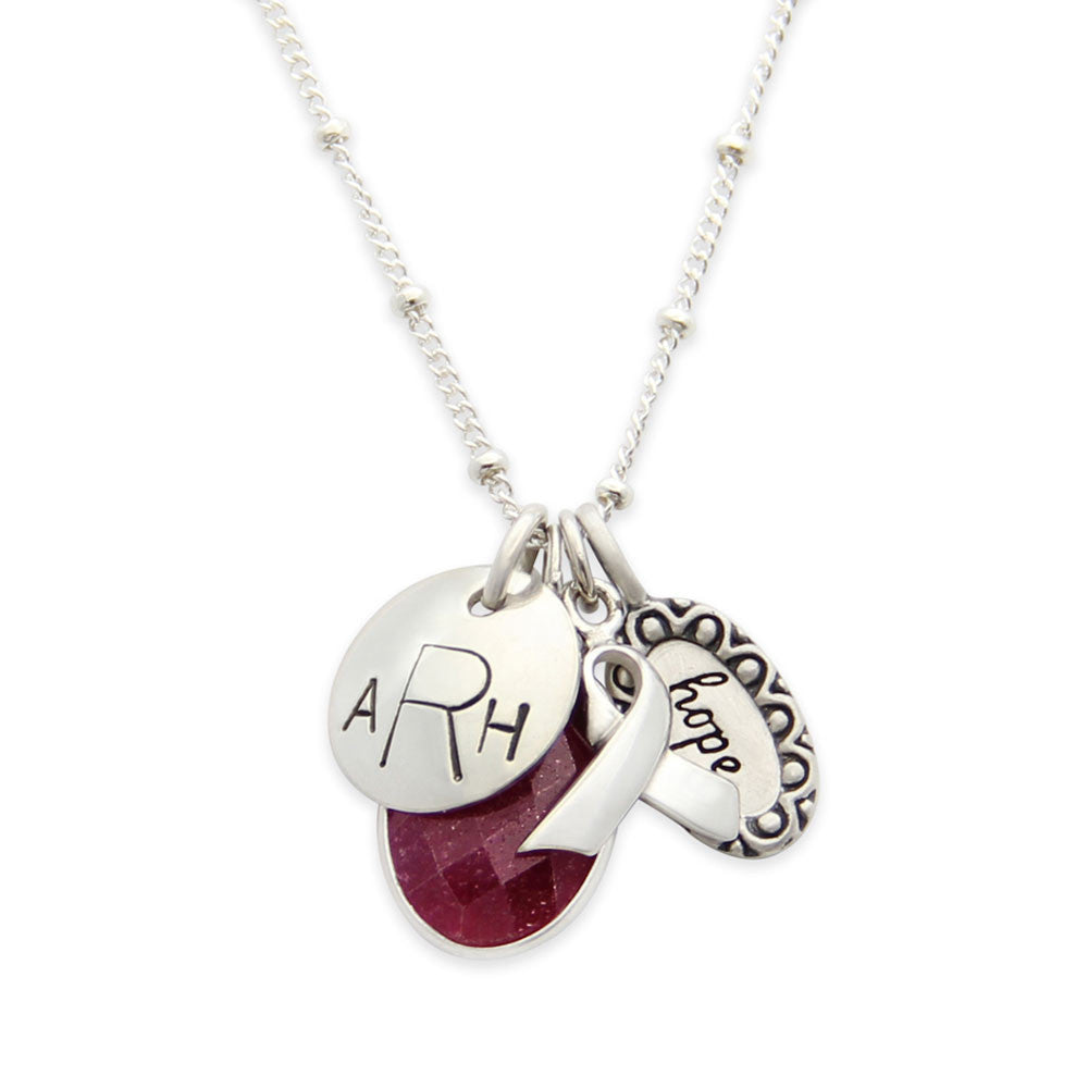 Silver Personalized Hand Stamped Breast Cancer Necklace, Hope Charm, Proud Mama®