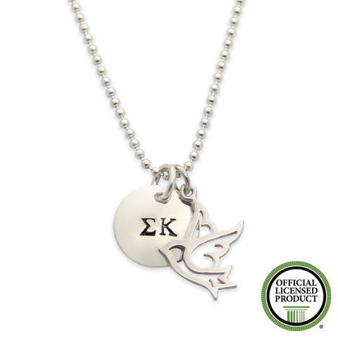 Sigma Kappa Necklace, Sorority Jewelry, Sigma Kappa Dove, Official Licensed, Silver Stamped, jenny present®