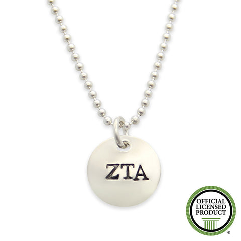 Zeta Tau Alpha Necklace, Sorority Jewelry, Silver Hand Stamped, Official Licensed Product, jenny present®