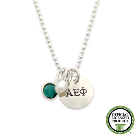 AEPhi necklace, sorority jewelry, hand stamped, personalized, jenny present®