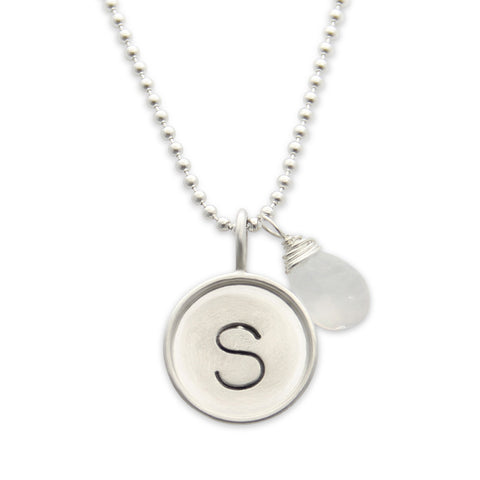Silver Initial Hand Stamped Necklace with Gemstone, Personalized, Proud Mama®