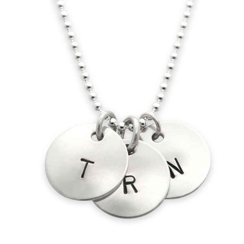 sterling silver hand stamped three pendant initial necklace, personalized jewelry, proud mama®, jenny present®