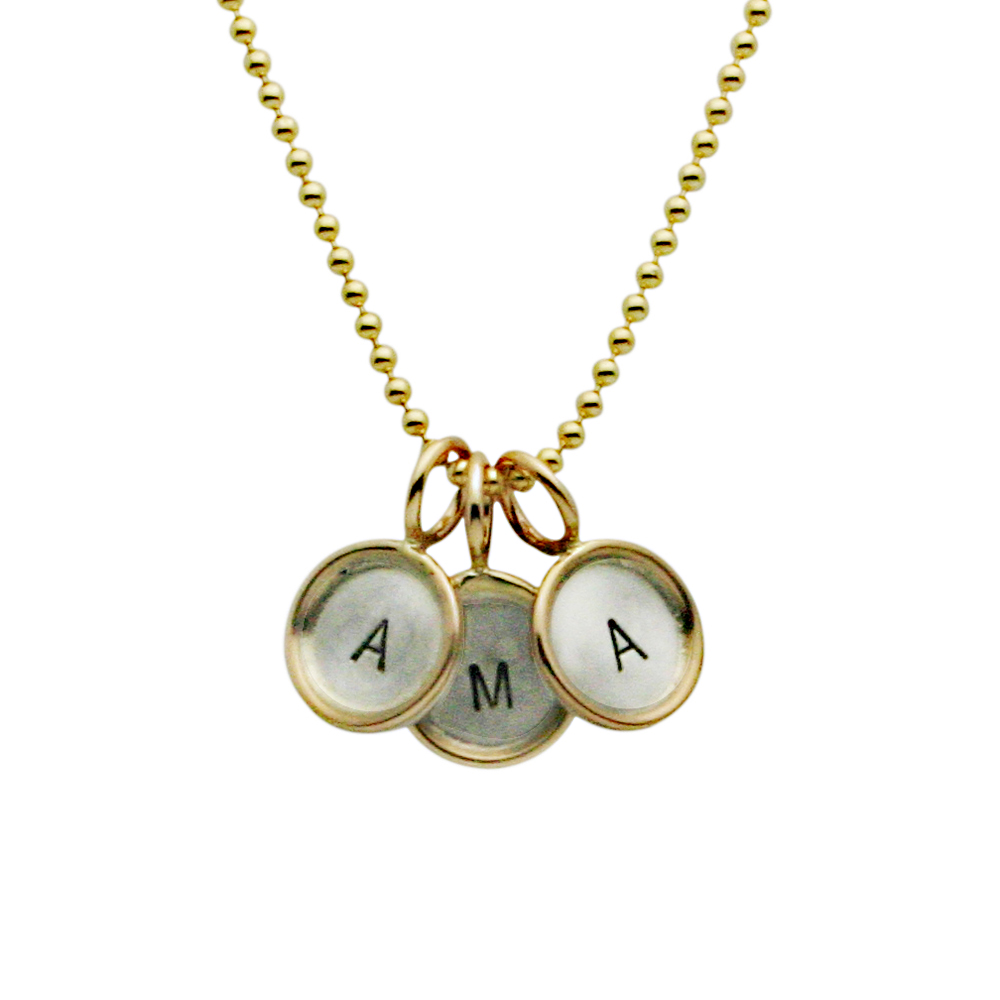 Mothers Jewelry, Multiples Jewelry, Three Initial Gold Rim Charm Necklace, Hand Stamped Jewelry, Proud Mama®, jenny present®
