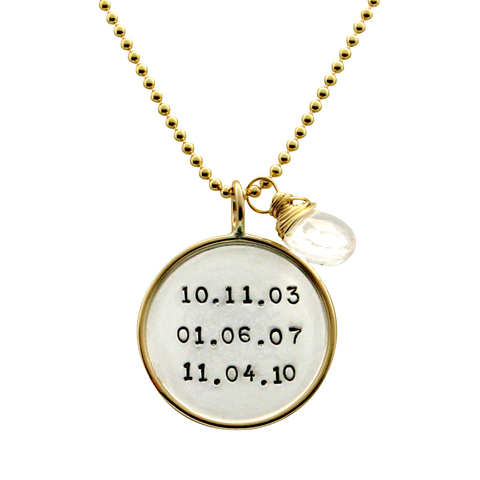 Gold Rim Hand Stamped Date Personalized Necklace, Jewelry, Proud Mama®