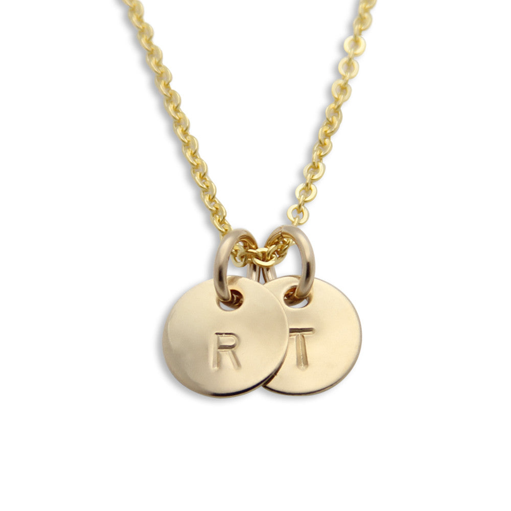 gold hand stamped two pendant initial necklace, personalized jewelry, proud mama®, jenny present®