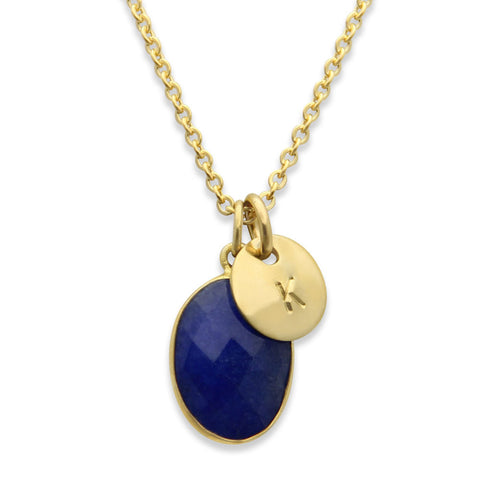 gold hand stamped initial charm necklace with sapphire stone, personalized jewelry, proud mama®, jenny present®
