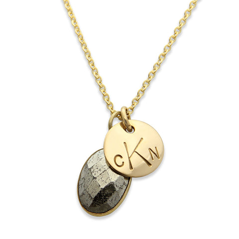 Gold Hand Stamped Monogram Charm Necklace with Pyrite, Personalized Jewelry, Proud Mama®, jenny present®