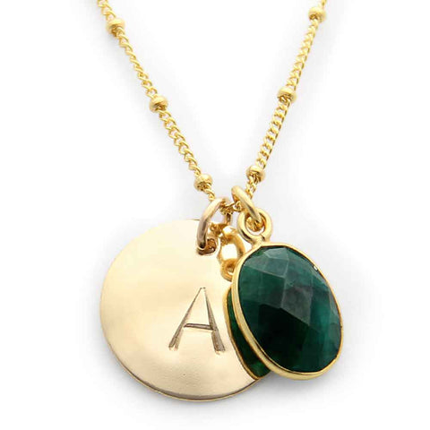 hand stamped gold initial charm necklace, emerald gemstone, personalized jewelry, proud mama®, jenny present®