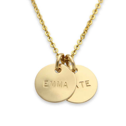 hand stamped two name mothers necklace, gold, personalized jewelry, proud mama®