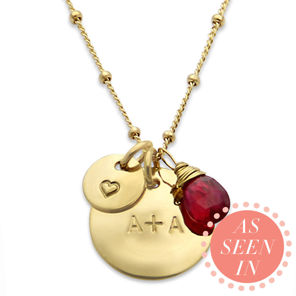 Gold Hand Stamped Necklace with Gemstone, Personalized Jewelry, Proud Mama®, jenny present®