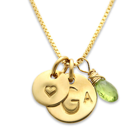 gold monogram charm necklace, hand stamped tiny heart, gemstone option, personalized jewelry, proud mama®, jenny present®